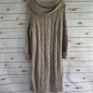 New Loft Cable Knit Cowl Neck Sweater Dress